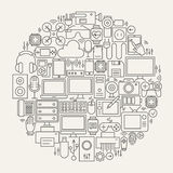 Gadgets and Devices Line Icons Set Circle Shape Stock Image