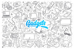 Gadgets doodle set with lettering Royalty Free Stock Images