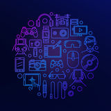 Gadgets and electronics round sign Royalty Free Stock Image