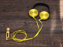 Gadgets for every day ready for their work. Music player and headphones - gadgets for every day Stock Photo