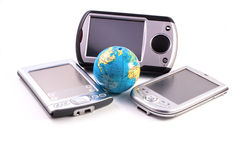 Gadgets and globe Royalty Free Stock Image