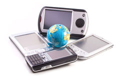 Gadgets and globe Stock Images