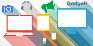 Gadgets - icons set. Illustration set of colorful gadgets icons royalty free illustration