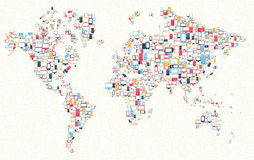 Gadgets icons world map illustration Royalty Free Stock Image