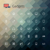 Gadgets Line Icons. Gadgets and devices line Icons set. Pixel perfect icons. Vector illustration. Geometric background Royalty Free Stock Image