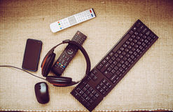 Gadgets. Mouse and phone, sound and click Stock Photography