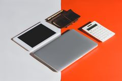 Gadgets and office supplies Stock Photos