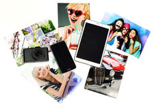 Gadgets with printed photos Royalty Free Stock Photography