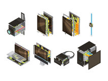 Gadgets Scheme Isometric Icon Set. Colored gadgets scheme isometric icon set with computer reserve parts and microcircuit vector illustration Stock Photo
