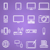 Gadgets and technology icons set, linear style. Stock Photos