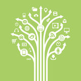 Gadgets and technology symbols on tree with arrow. Conceptual il Royalty Free Stock Photo