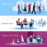 Gadgets Using People Flat Banners Set vector illustration