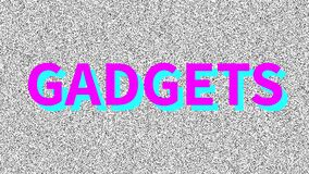 Gadgets. Word about problem on noisy old screen. Looping VHS interference. Vintage animated background. 4K video footage