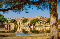Gadi Sagar (Gadisar), Jaisalmer,拉贾斯坦,印度,亚洲 免版税库存照片