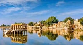 Gadi Sagar (Gadisar), Jaisalmer, Rajasthan, India, Asia. Gadi Sagar (Gadisar) Lake is one of the most important tourist attractions in Jaisalmer, Rajasthan stock image