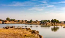 Gadi Sagar Gadisar, Jaisalmer, Rajasthan, Indien, Asien lizenzfreies stockfoto