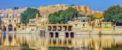 Gadi Sagar Gadisar, Jaisalmer, Rajasthan, Indien, Asien stockfotografie