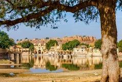 Gadi Sagar (Gadisar), Jaisalmer, Rajasthan, Indien, Asien stockfotos