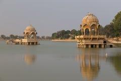 Gadisar湖在Jaisalmer,拉贾斯坦状态,印度 库存照片