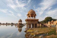 Gadisar Lake in Jaisalmer city is tourist attraction. India, Rajasthan royalty free stock photography
