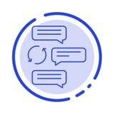 Gadka, gawędzenie, rozmowa, dialog, samochód, robot linii linii błękit Kropkująca ikona ilustracja wektor