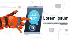 Gadki larwy usługa App pojęcia robota ręki dotyka telefonu szablonu Mądrze sztandar Z kopii przestrzenią, Chatterbot pomoc techni Zdjęcie Stock