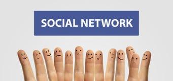 gadki palca grupy szczęśliwy szyldowy socjalny Obraz Stock