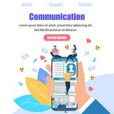 Gadki rozmowa młodzi ludzie Używa gadżety Internet ilustracji