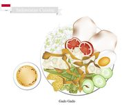 Gado Gado or Indonesian Salad with Peanut Sauce Stock Image
