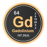 Gadolinium Gd chemical element. 3D rendering. Isolated on white background stock illustration