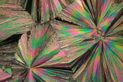 Gadolinium nitrate under the microscope. Gadolinium is a rare earth element. The crystals are precipitated from a solution on a microscope slide and photographed Royalty Free Stock Images