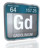 Gadolinium symbol in square shape with metallic border and transparent background with reflection on the floor. 3D render. Element number 64 of the Periodic stock illustration