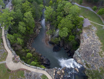 GADSDEN, ALABAMA - APRIL 14, 2016: Flying over Noccalula Falls Park and Campgrounds Stock Images