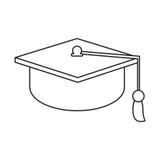 Gaduation cap education symbol thin line Stock Photos