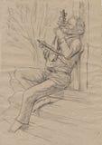 Gadulka-Spieler Eine Hand gezeichnete lebensgroße Illustration, ursprünglich Stockfoto
