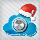 Gałeczka na przezroczystości chmurze z Santa Claus kapeluszem Obraz Royalty Free
