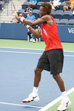Gael Monfils: Backhand at the 2008 US Open. August 25, 2008 - US Open, New York: Gael Monfils of France hitting a backhand at the 2008 US Open during a first Royalty Free Stock Images
