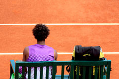 Gael Monfils on his bench at Roland Garros 2011. Defeating David Ferrer Royalty Free Stock Photography