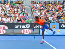 Gael Monfils playing in the Australian Open Royalty Free Stock Photo