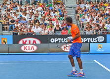 Gael Monfils playing in the Australian Open Stock Images