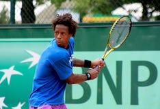 Gael Monfils at Roland Garros 2011. Gael Monfils training at Roland Garros 2011, just before the game versus David Ferrer Stock Photos