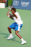 Gael Monfils Tennis Backhand. Gael Monfils, a star of French tennis,  hitting a backhand at the US Open Series event, Leggmason 2007, in Washington DC Royalty Free Stock Photography
