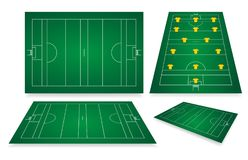 Gaelic Football Fields. With markings. Different viewpoints. Positions of players on the field Stock Image