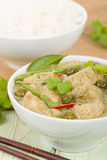 Gaeng Khiao Wan Gai. Thai green chicken curry with baby aubergines and snake beans served with steamed jasmine rice Royalty Free Stock Photo