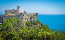 Panoramic view in Gaeta, province of Latina, Lazio, central Italy. Gaeta is a coastal city in central Italy, south of Rome. It`s home to Monte Orlando Park, a Stock Photography
