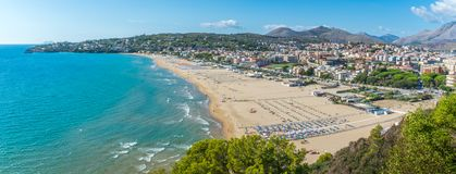 Panoramic view in Gaeta, province of Latina, Lazio, central Italy. Gaeta is a coastal city in central Italy, south of Rome. It`s home to Monte Orlando Park, a Stock Photo