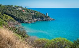 Panoramic view of the beautiful Gaeta coastline, province of Latina, Lazio, central Italy. Gaeta is a coastal city in central Italy, south of Rome. It`s home to Royalty Free Stock Images