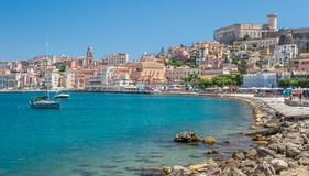 Panoramic in Gaeta coastline, province of Latina, Lazio, central Italy. Gaeta is a coastal city in central Italy, south of Rome. It`s home to Monte Orlando Park Stock Photography