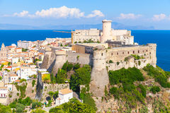 Gaeta. Landscape with old town on the hill. Coastal landscape with old town on the hill of Gaeta, Italy Stock Photo
