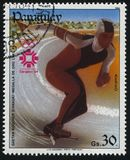 Gaetan Boucher speed skater at Winter Olympics in Sarajevo. RUSSIA KALININGRAD, 19 APRIL 2017: stamp printed by Paraguay, shows Gaetan Boucher speed skater at Stock Images